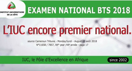 Examen national BTS 2018 : l'IUC encore premier national