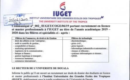Communiqué : Recrutement aux cycles licences et masters professionnels à l'IUGET