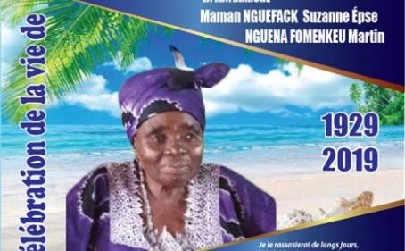 Avis de décès et programme des obsèques de Maman NGUEFACK Suzanne épse NGUENA FOMENKEU Martin