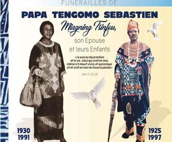 Faire-part funérailles de Papa TENGOMO Sébastien Miagning Tsinfou, son épouse et leurs enfants